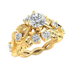 14k Gold Engagement Ring 1.6ctw Genuine Round Diamond For Women Solitaire