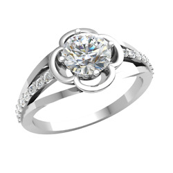 1carat Real Round Cut Diamond 10k Gold Engagement Ring For Women Solitaire J Si2