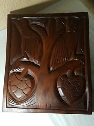 Art Flower Wood Teak Panel Hand Carved Thai Decor Hang Wall Plaque Statue Relief