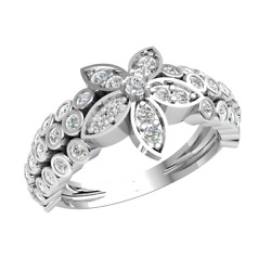 18k Gold 0.7ct Round Cut Diamond Engagement Ring For Women Flower H Si2