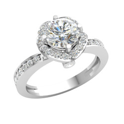 1.20ct Round Diamond Halo Solitaire Engagement Ring For Women Prong Set 10k Gold