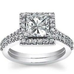 Anniversary 1.88 Ct Diamond Ring Halo 18 Kt White Gold Accented Size 6.5 8 9