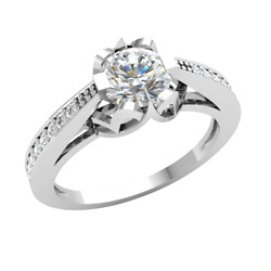 Natural 0.9ct Round Cut Diamond 14k Gold Engagement Ring Ladies Solitaire Gh Si2