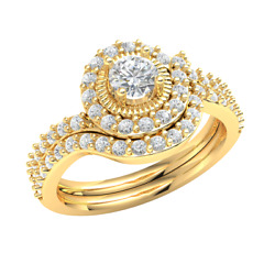 1ct Round Real Diamond 18k Gold Engagement Rings Set For Women Solitaire H Si2