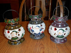 Jubilee Giftware Christmas Snowmen & Santa Tealite Candle Holders Set Of 3 NEW