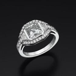 3.5 CT ACCENTS ESTATE DIAMOND HALO RING WOMENS 18 KT WHITE GOLD COLORLESS REAL