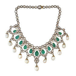 Christmas Gift 177.55ct Emerald Necklace 925 Silver 14k Yellow Gold Jewelry