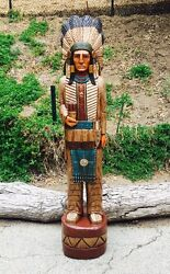 John Gallagher Carved Wooden Cigar Store Indian 6 Ft. Story Board