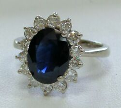 18k Gold Ring With 3.27ct Oval Blue Sapphire And Gem Diamonds Size 7 3/4