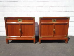 2 Campaign Nightstands Vintage Bedside Tables Storage Mid Century Chinoiserie