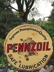 Vintage Gas Oil Original Sign Pennzoil Brown Bell Early 1900and039s 2 Sided Porcelain