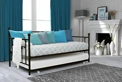 Bronze Finish Twin Metal Daybed Frame Bed With Trundle Guest Couch Sofa Bedroom
