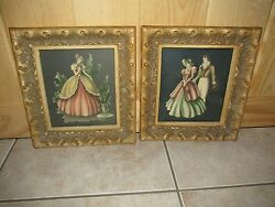Vtg/antique Guesso Style Victorian Ballerina/dancer Wall Picturespair