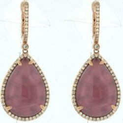 24.08ct Diamond And Aaa Amethyst 14kt Rose Gold 3d Tear Drop Hanging Earrings