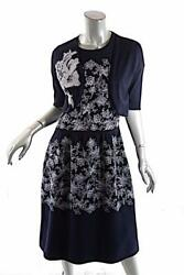 Carolina Herrera Navy Wool Knit Dress Suit W/white Floral Embroidery 3780 Nwt