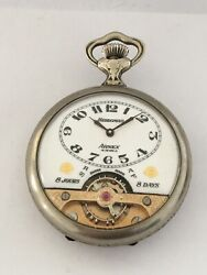 Silver Plated Swiss 8 Day Hebdomas With Visible Escapement Pocket Watch
