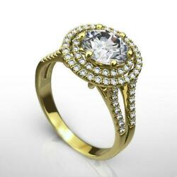 Diamond Ring Halo Certified Awesome Side Stones 1.84 Ct 6 Prong 18k Yellow Gold