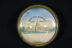 Vintage Glass Paperweight Saint St. Paul Mn Capitol Building Domed Paper Weight