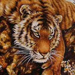 Genuine Baltic Amber Painting Tiger Art Deco Butterscotch Handmade Gift 19and039and039x27