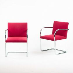 Original Knoll Mies Van Der Rohe Brno Chairs Red Fabric Sets Avail 2000s 2k Msrp