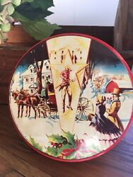Vintage Deluxe Christmas Fruit Cake/cookie/candy Tins Red Shabby Chic Sleigh