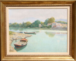 Roberto Sgrilli, Riverside Village, Oil Painting Art