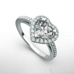 Si2 Accented Diamond Ring Halo Heart Cut 1.5 Ct Ornate Ladies 18k White Gold