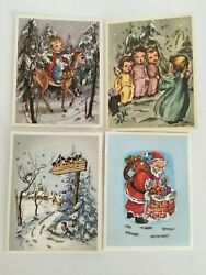 Set Of 4 Vintage Christmas Greeting Cards Alfred Mainzer All With Glitter
