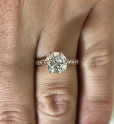 2.50 Ct F/si1 Round Cut Diamond Solitaire Engagement Ring 14k Rose Gold Xmas