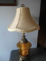 1970 Lrge Ef And Ef Industries Amber Glass Acorn Style W Diffuser Table Lamp 3 Way