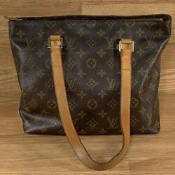 Louis Vuitton Cabas Piano Monogram Brown Canas Leather Straps Tote