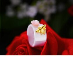 925 Sterling Silver Natural Handmade Fine Jewelry Set Ceramics Bee Rose Gift