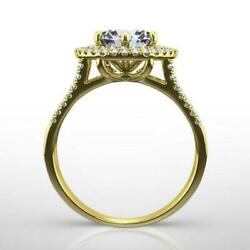 Diamond Double Halo Ring Si2 Colorless 2 Carat 18k Yellow Gold Size 4 1/2 - 9