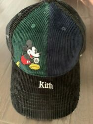 Kith X Disney Split Colorblocked Corduroy Mickey Mouse Hat Baseball Cap Navy
