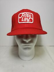 Frito Lay Trucker Hat Vintage Patch Mesh Snapback Cap Red Employee Uniform Old