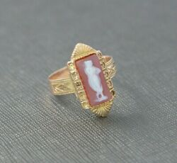 Victorian Rose And Yellow Gold Cameo Ring Superb Condition Size 8.75 Circa 1880