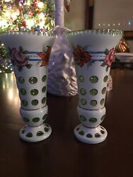 """Pair Of Czech Vases Casec White Glass Cut To Green Cut To Clear 8 1/2"""" Floral"""