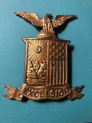 1898 Us Army Shako Hat Cap Badge Insignia New York National Guard Excelsior