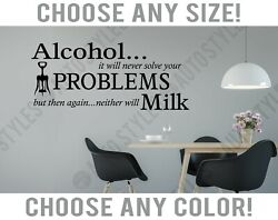 Dining Room Alcohol Problems Wine Words Wall Decal Home Decor Vinyl Art Sticker