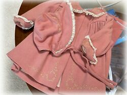 VTG1950s Pink Floral Embroidered BABY GIRL or doll Wool Coat & Bonnet 6-9 month
