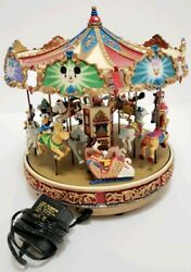 Disney Collectable Mr Christmas Mickey's Holiday Merry Go Round Lighted Carousel
