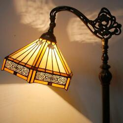 Yellow Style Reading Lamp Hexagon Stained Glass Lampshade In 64 Inch
