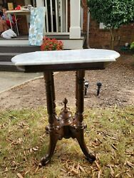 Antique Marble Table- Very Small Chip On One Of The Corners. 615 Obo