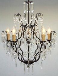 Wrought Iron Crystal Chandelier Lighting H27quot; X W21