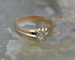 19k Rg Diamond Solitaire Ring Old Mine Cut Stone Circa 1880 Size 10.25