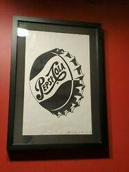 Andy Warhol Autographed Hand Signed Large Pepsi Cola Bottle Cap Litho