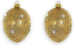 D Handmade Gold Glass Ornament Christmas Tree Decoration With Crystals 2-pc