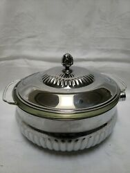 A-ware-ailstyn Serving Bowl Lid Glass Pyrex Insert Chrome On Solid Brass