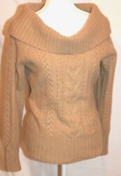 Womens Banana Republic M Cable-knit Angora Lambswool Cowl Neck Sweater CamelTan