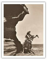 Lei To The Sea - Hawaiian Hula - Alan Houghton 1960 Vintage Photograph Art Print